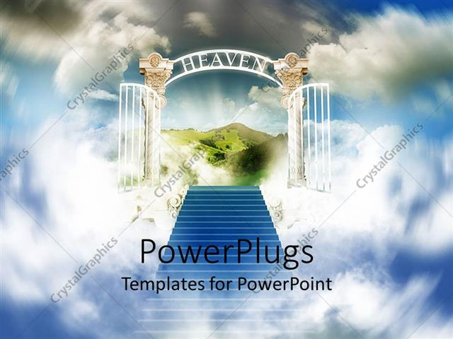 Powerpoint template stairway to heaven with white shining open powerpoint template displaying stairway to heaven with white shining open gates and beautiful green toneelgroepblik