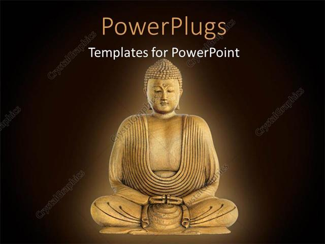 PowerPoint Template Displaying Statue Of Buddha In Meditation Over Brown Surface With Dark Edges