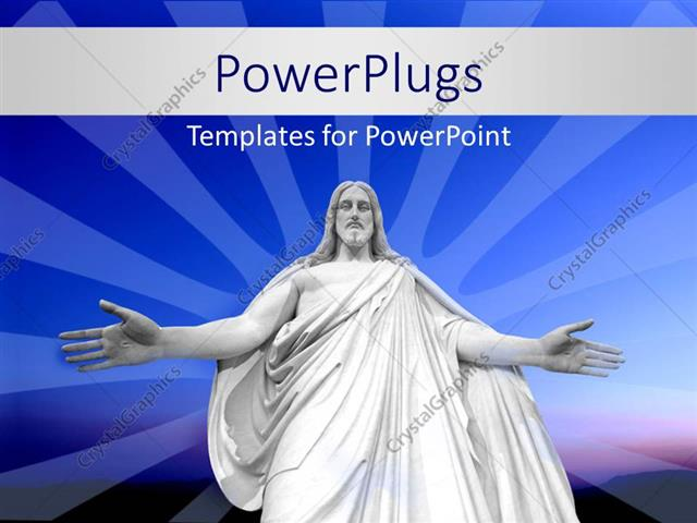 PowerPoint Template Displaying Statue of Jesus Christ with Outstretched Hands Over Blue Background