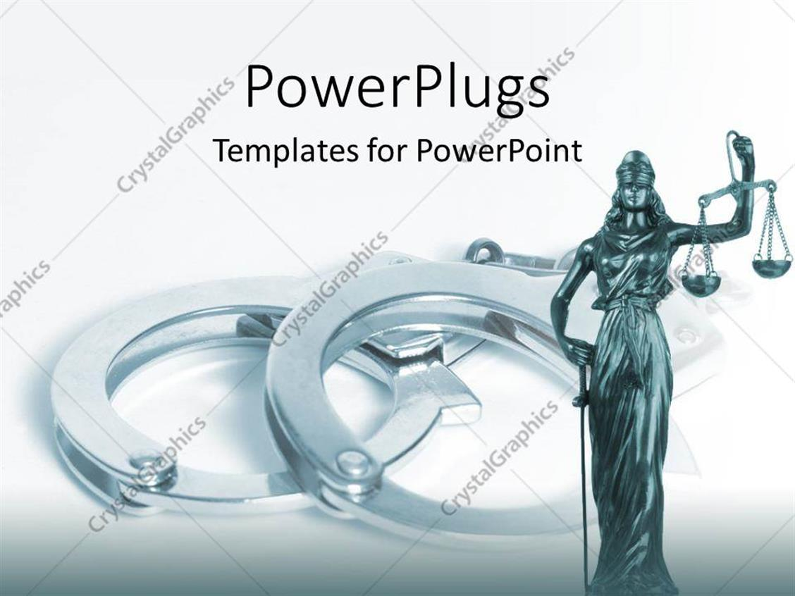 PowerPoint Template Displaying Statue of Justice with Scale Crime Handcuffs Judicial System Legislative Law