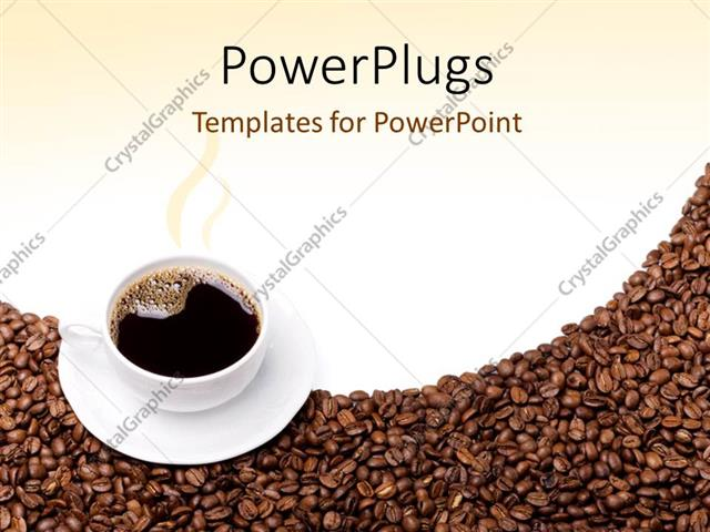 Powerpoint template steaming cup of coffee and saucer on brown powerpoint template displaying steaming cup of coffee and saucer on brown grains toneelgroepblik Image collections