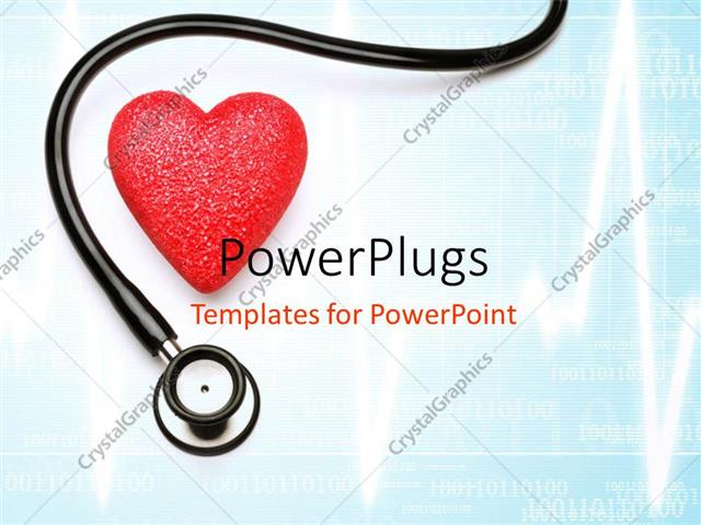 Powerpoint Template Stethoscope And Red Heart Over Blue Background