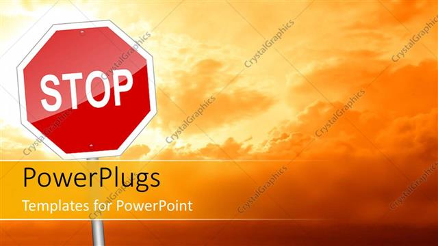 PowerPoint Template Displaying large Stop Road Sign Depicting STOP to Global Warming