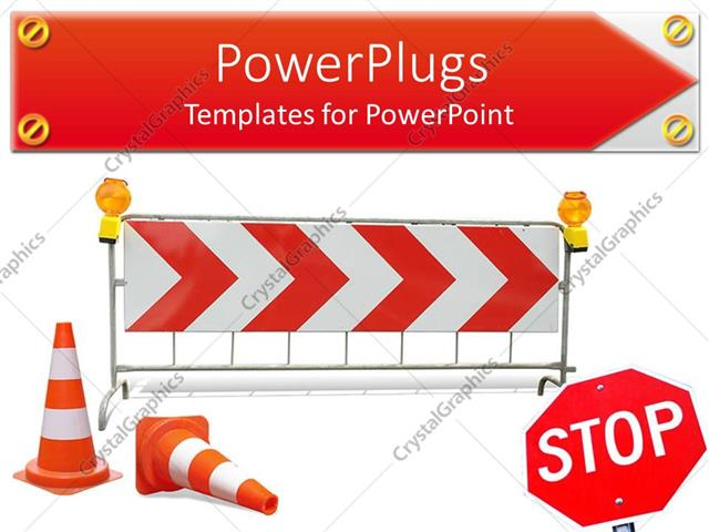 powerpoint template stop sign with road barriers on a white
