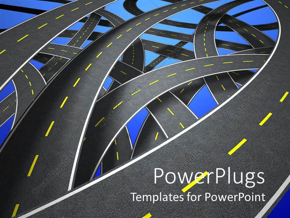 PowerPoint Template Displaying Streets and Lanes as a Metaphor Directions Decisions Maps and Places to Choose