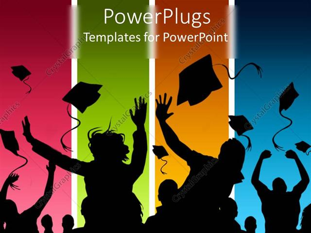 Powerpoint Template Students Celebrating Graduation On Multicolored