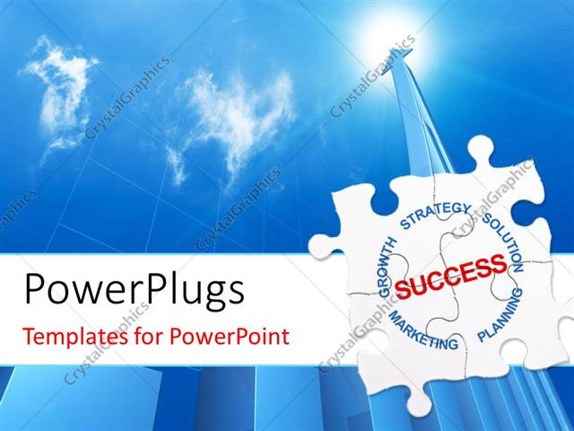 Powerpoint template success puzzle with blue arrow rising into blue powerpoint template displaying success puzzle with blue arrow rising into blue cloudy sky toneelgroepblik Choice Image