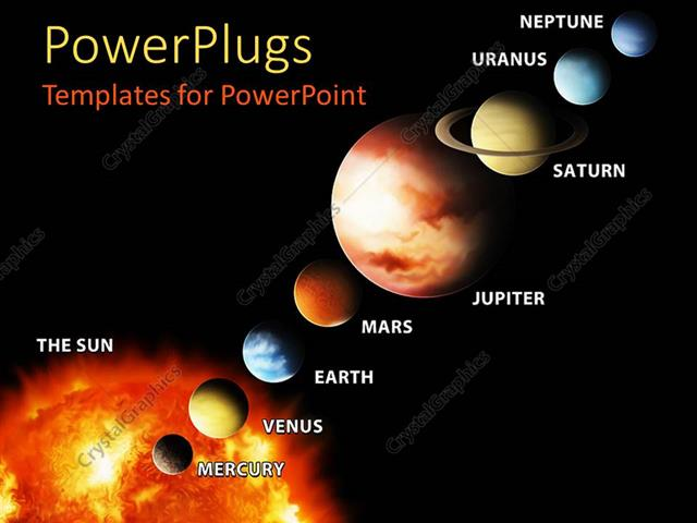 Powerpoint Template Sun And Planets Aligned And Labeled