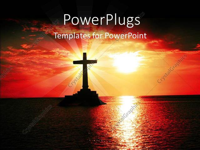 PowerPoint Template: A Sun Set View Of A Cross On A Large