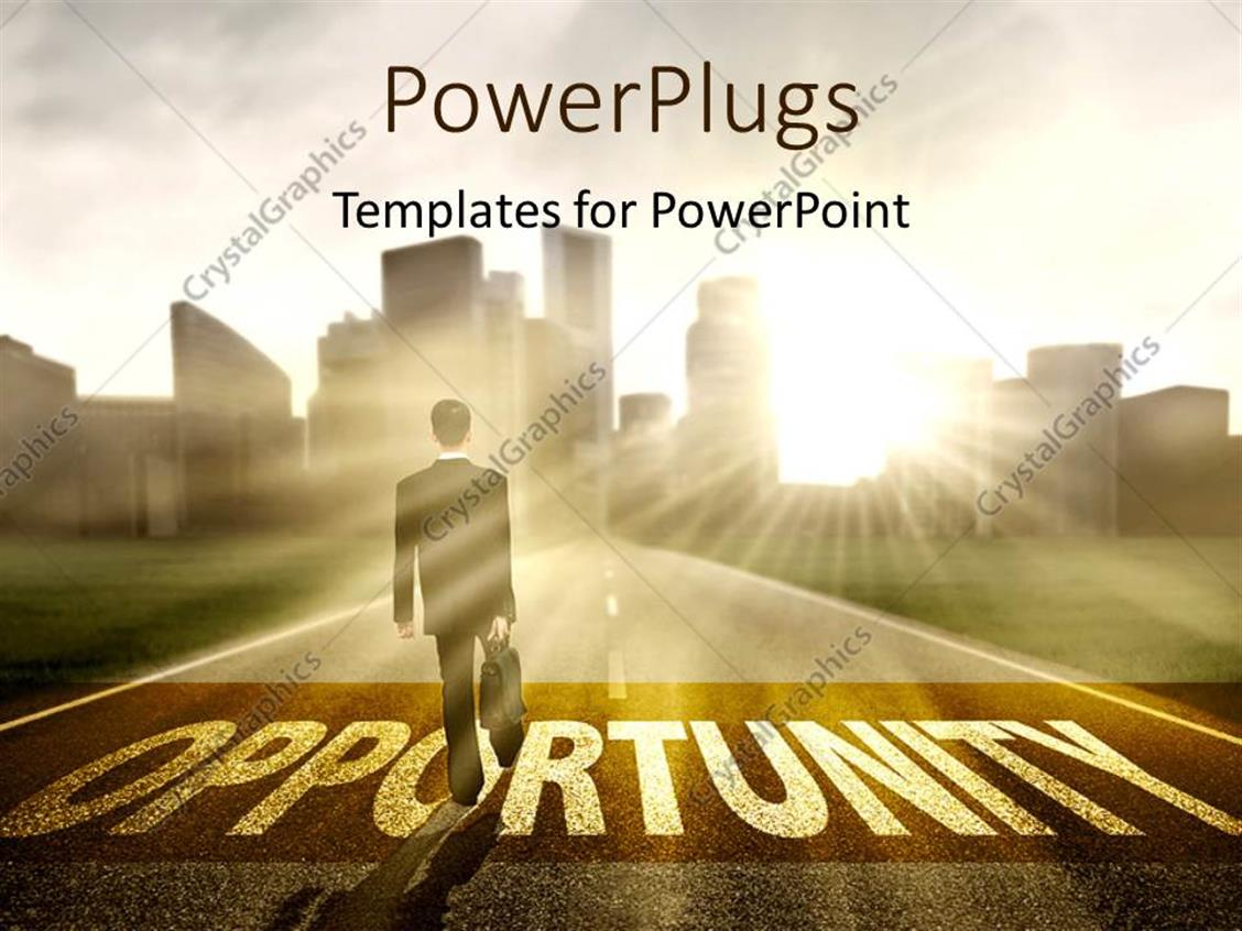 PowerPoint Template Displaying Sunrise Over City and Business Man on Road to Opportunity
