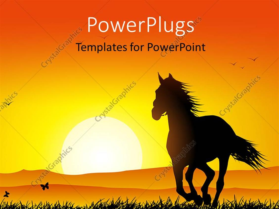 Powerpoint Template Sunset In Distance With Silhouette Of Horse