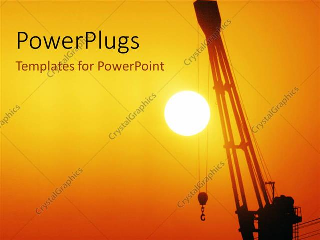 powerpoint template a sunset view of a crane held up in the air 8337