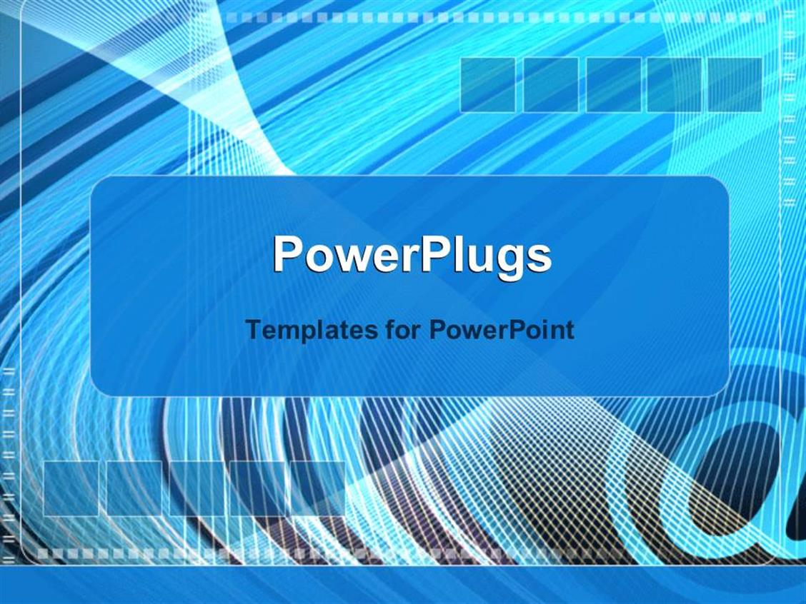 PowerPoint Template Displaying at Symbol on Abstract Blue and Gray Animated Background