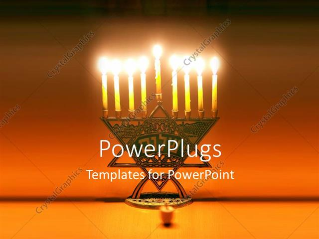 Powerpoint Template Symbol Of Jewish Holiday Hanukkah With Lighted