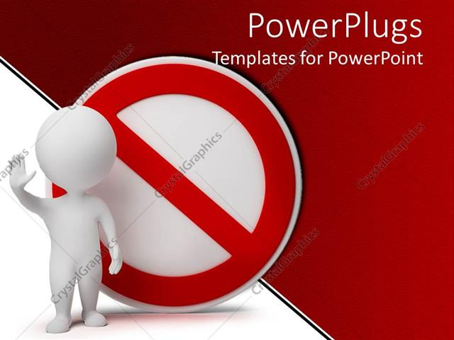 PowerPoint Template Displaying no Symbol with White Human Waving, Red and White Background