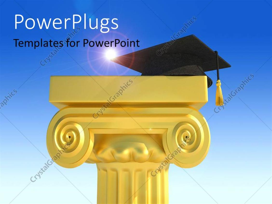 PowerPoint Template Displaying a Tall Cream Colored Podium with a Graduation Cap