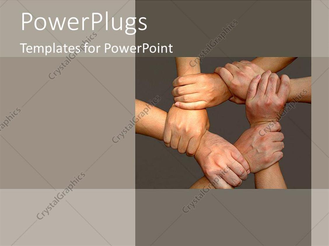 PowerPoint Template Displaying Tan Hands Come Together for Team on Grey Background as a Metaphor