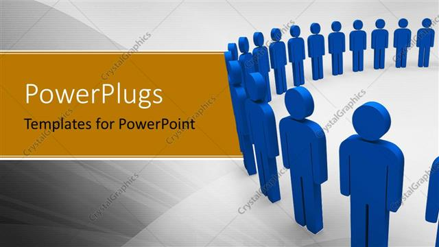 PowerPoint Template Displaying Lots of Blue Colored 3D Characters Standing in a Circular Position