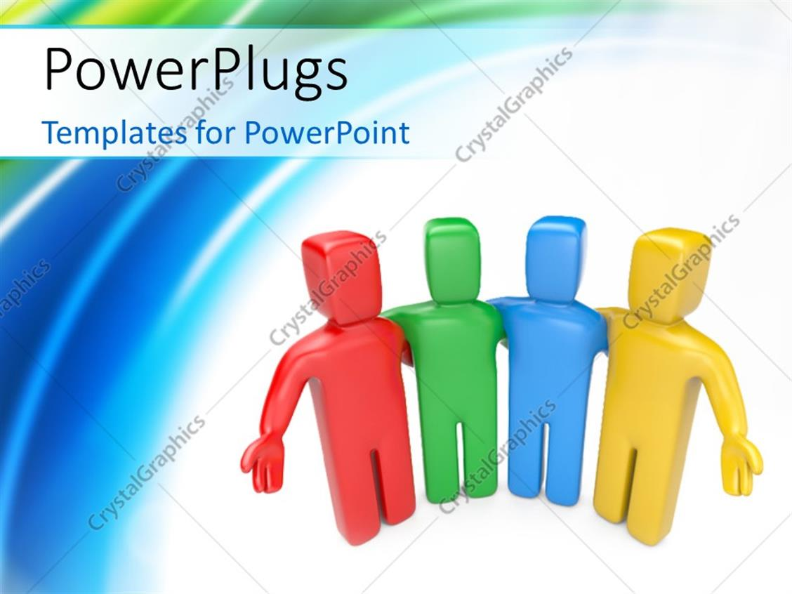 PowerPoint Template Displaying Team of Colorful 3D Human Characters Welcoming with Colorful Curves in the Background
