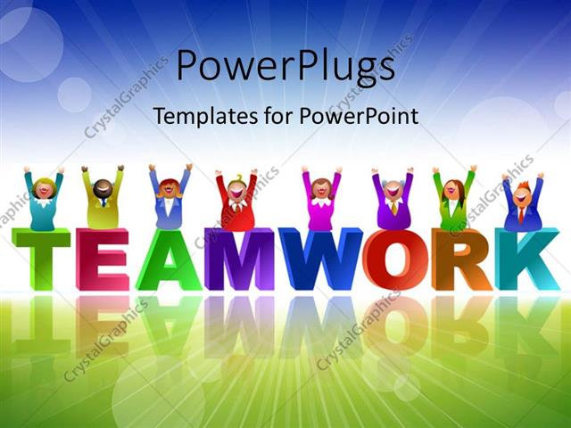 Powerpoint template team in different colors over the word powerpoint template displaying team in different colors over the word teamwork with landscape in toneelgroepblik Gallery