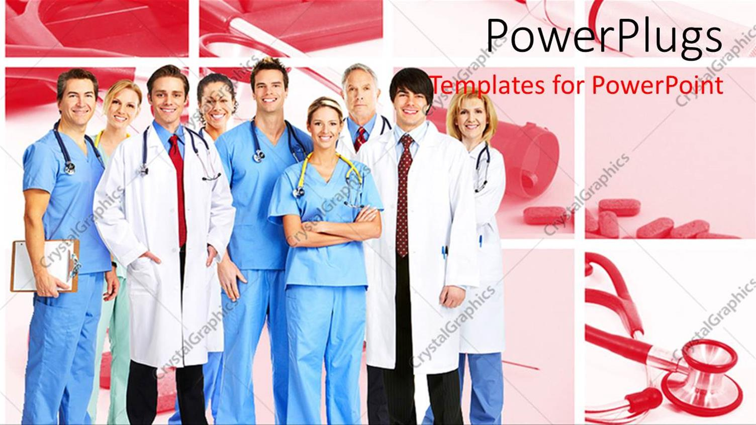 PowerPoint Template Displaying Team of Doctors and Nurses Wearing Stethoscopes and Smiling at the Camera