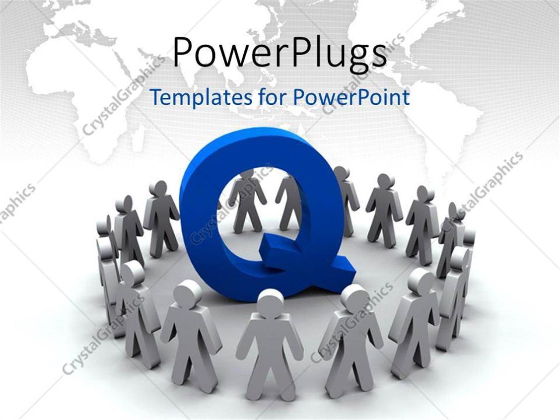 PowerPoint Template Displaying Team of People Surround the Letter Q with World Map