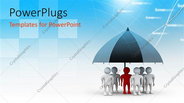 PowerPoint Template Displaying a Team of 3D Characters Standing Under an Umbrella