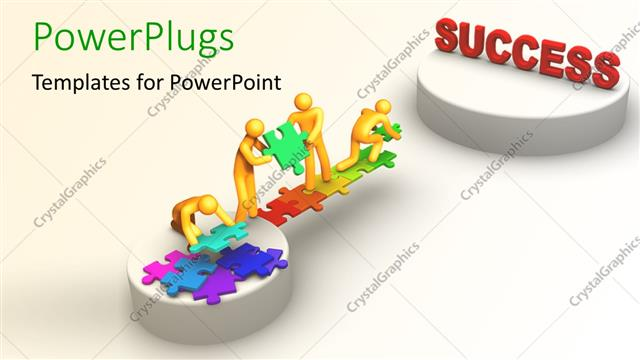 PowerPoint Template: Teamwork depiction with 3D team constructing ...