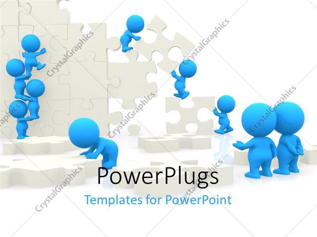 PowerPoint Template: Teamwork depiction with 3D men arranging pieces ...