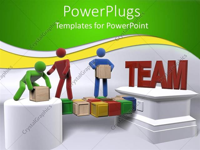PowerPoint Template Displaying Teamwork Metaphor With 3D People Moving Boxes Team Building