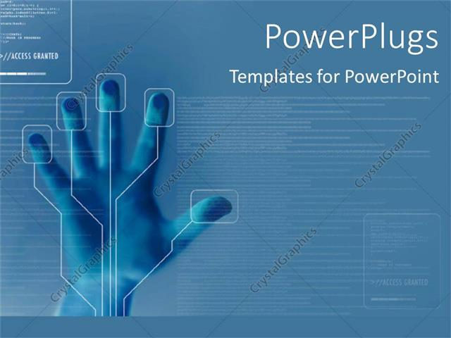 Powerpoint template technology for finger printing identity powerpoint template displaying technology for finger printing identity security on blue background toneelgroepblik Images