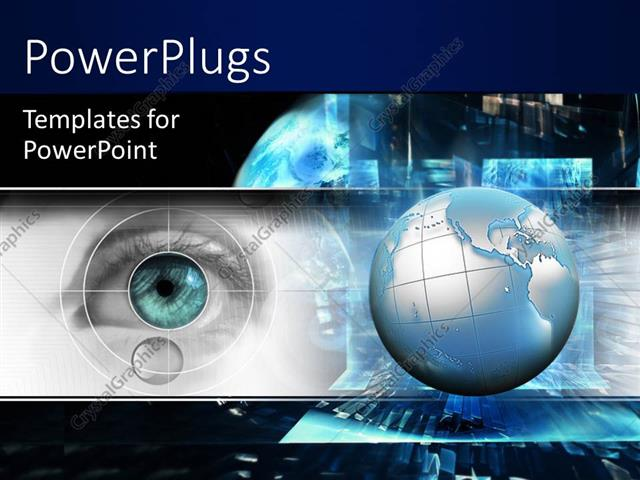 Powerpoint Template Technology Theme With 3d Globe And Eye Scanning