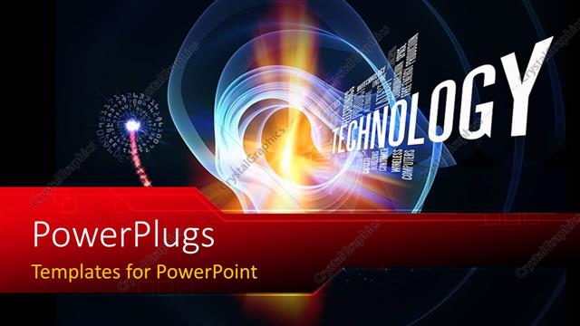 PowerPoint Template Displaying Technology Words and Abstract Forms on the Subject of Progress in Modern Technology