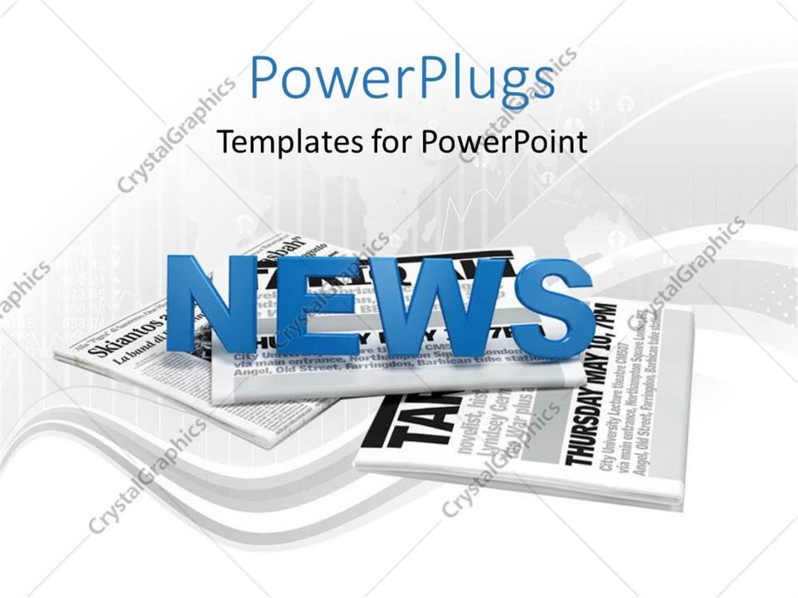 PowerPoint Template Displaying Text News on a Bunch of Newspaper with Map and Digital Artwork in Background
