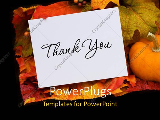Powerpoint template thank you card with a gourd sitting on a fall powerpoint template displaying thank you card with a gourd sitting on a fall leaf background toneelgroepblik Choice Image