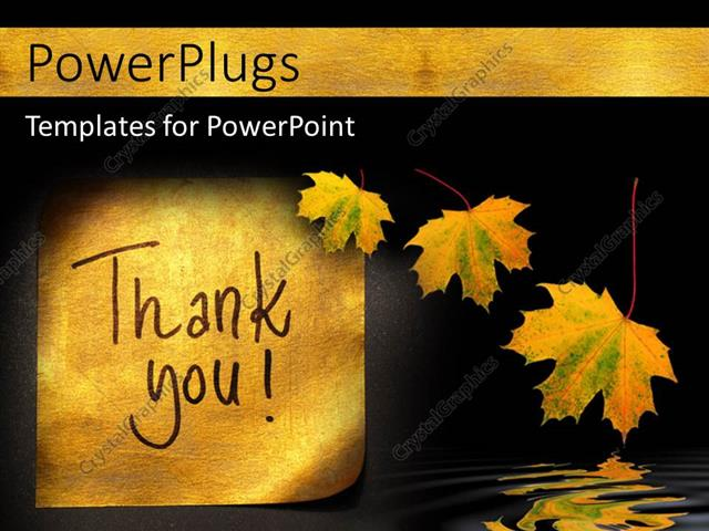 Powerpoint Template Thank You Message Handwritten On Gold Sticker