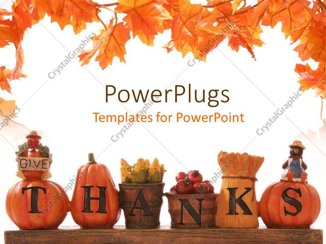 Powerpoint Template Thanksgiving Decoration With Beautiful Leaves
