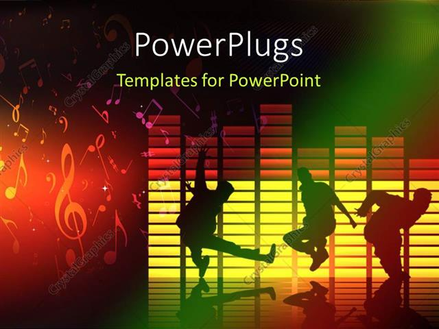 Powerpoint template thee people dancing and jumping on a music powerpoint template displaying thee people dancing and jumping on a music theme background toneelgroepblik Choice Image