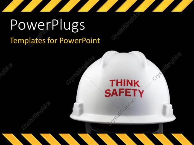 Powerpoint template think safety message on the back of the powerpoint template displaying think safety message on the back of the helmet with hazard stripes toneelgroepblik Choice Image