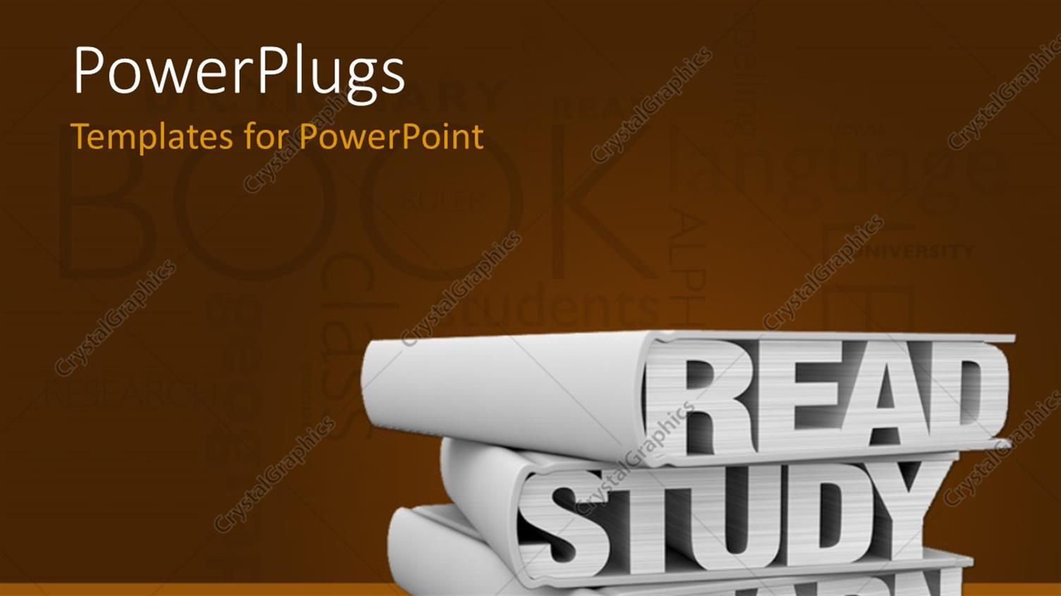 PowerPoint Template Displaying Three Books with the Words: Read Study Learn