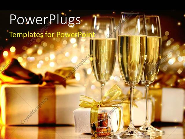 PowerPoint Template Displaying Three Champagne Glasses with Gift Boxes Over Shinny Background