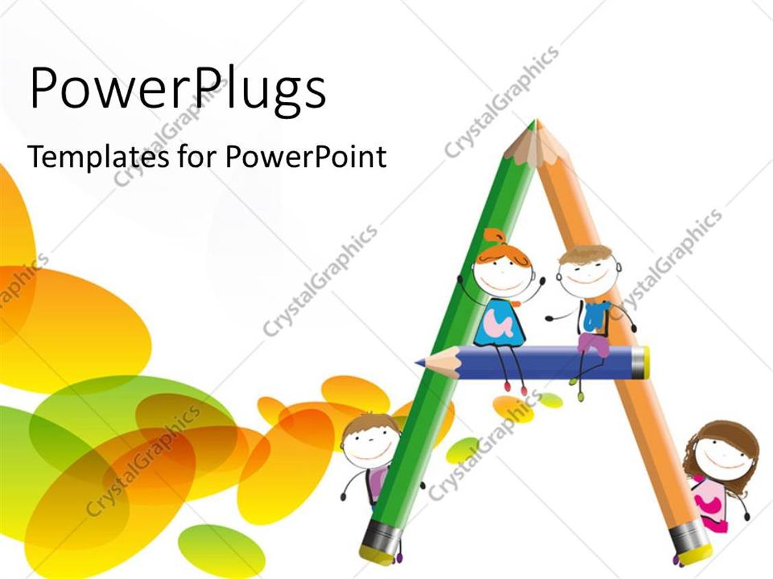 PowerPoint Template Displaying Three Colorful Pencils Forming an Alphabet