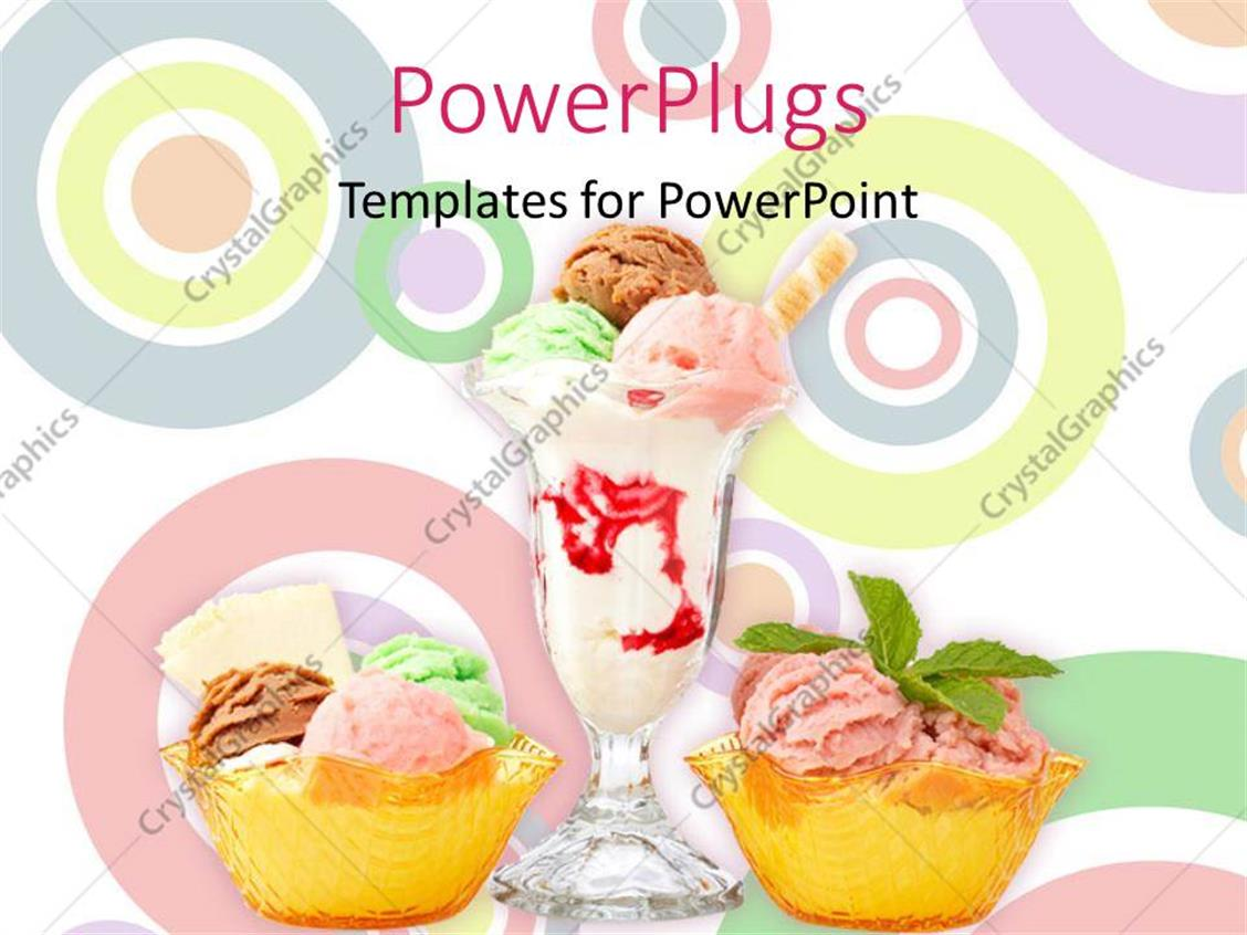 PowerPoint Template Displaying Three Delicious Multi Flavor Ice Cream Glasses