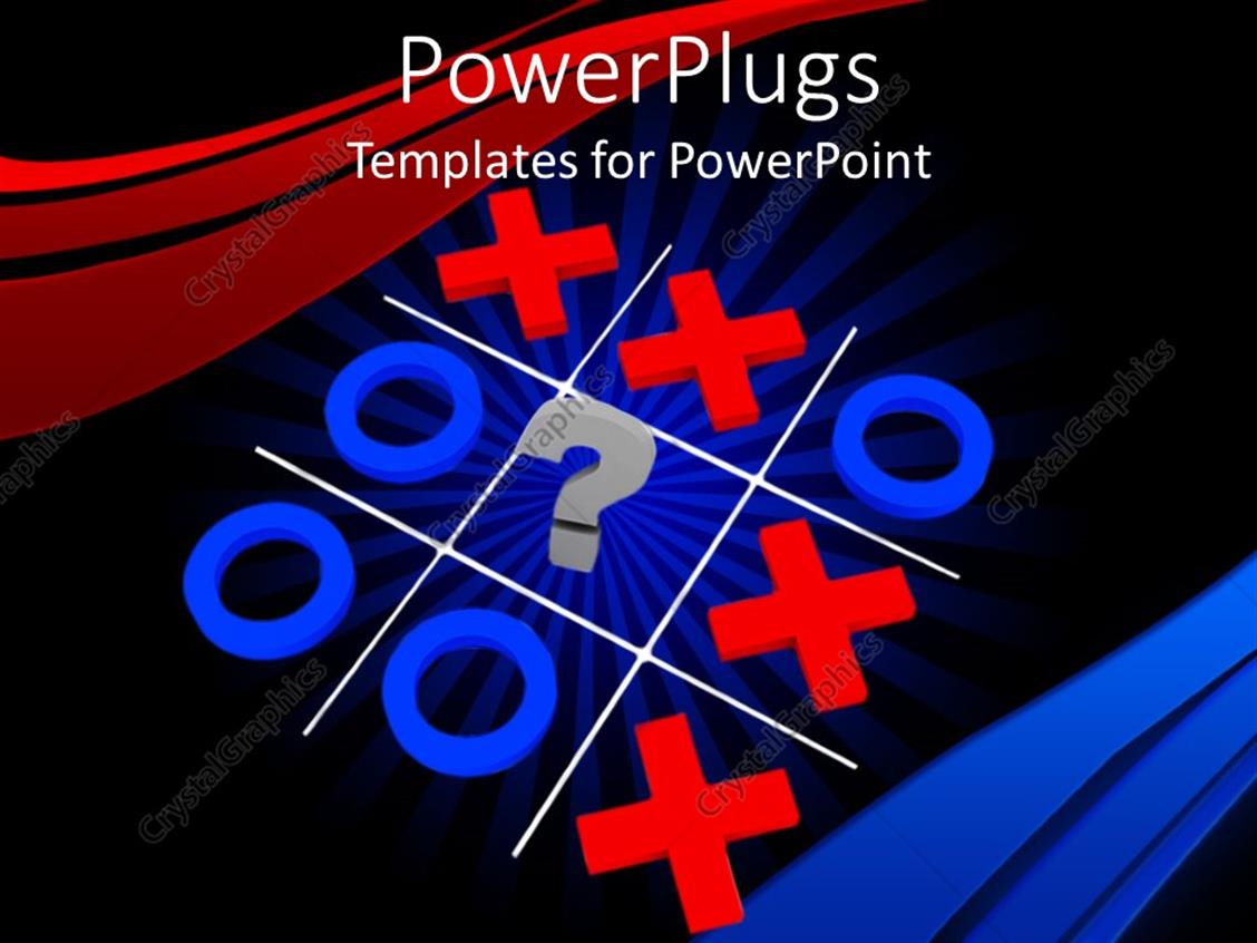 Powerpoint Template Three Dimensional Rendering Of Tic Tac Toe Game