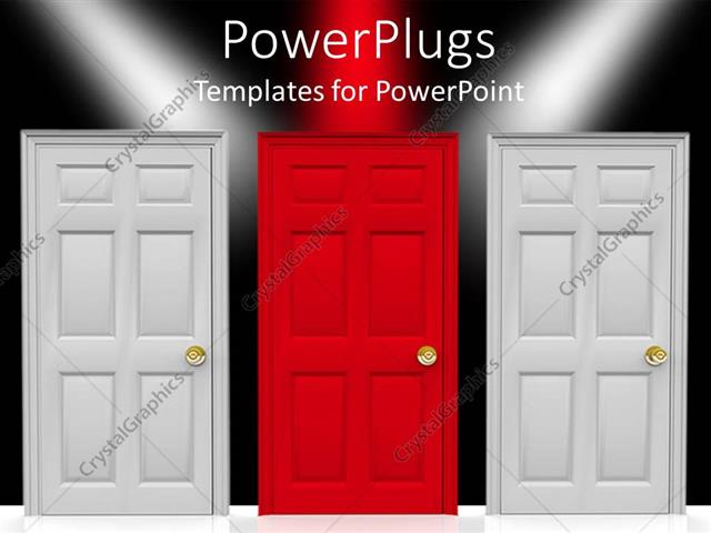 PowerPoint Template Displaying Three Doors, Two White Doors and a Red Doors in the Center, Over Black Background