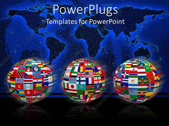 Powerpoint template three globes with flags of world countries and powerpoint template displaying three globes with flags of world countries and plain world map on starry gumiabroncs Images