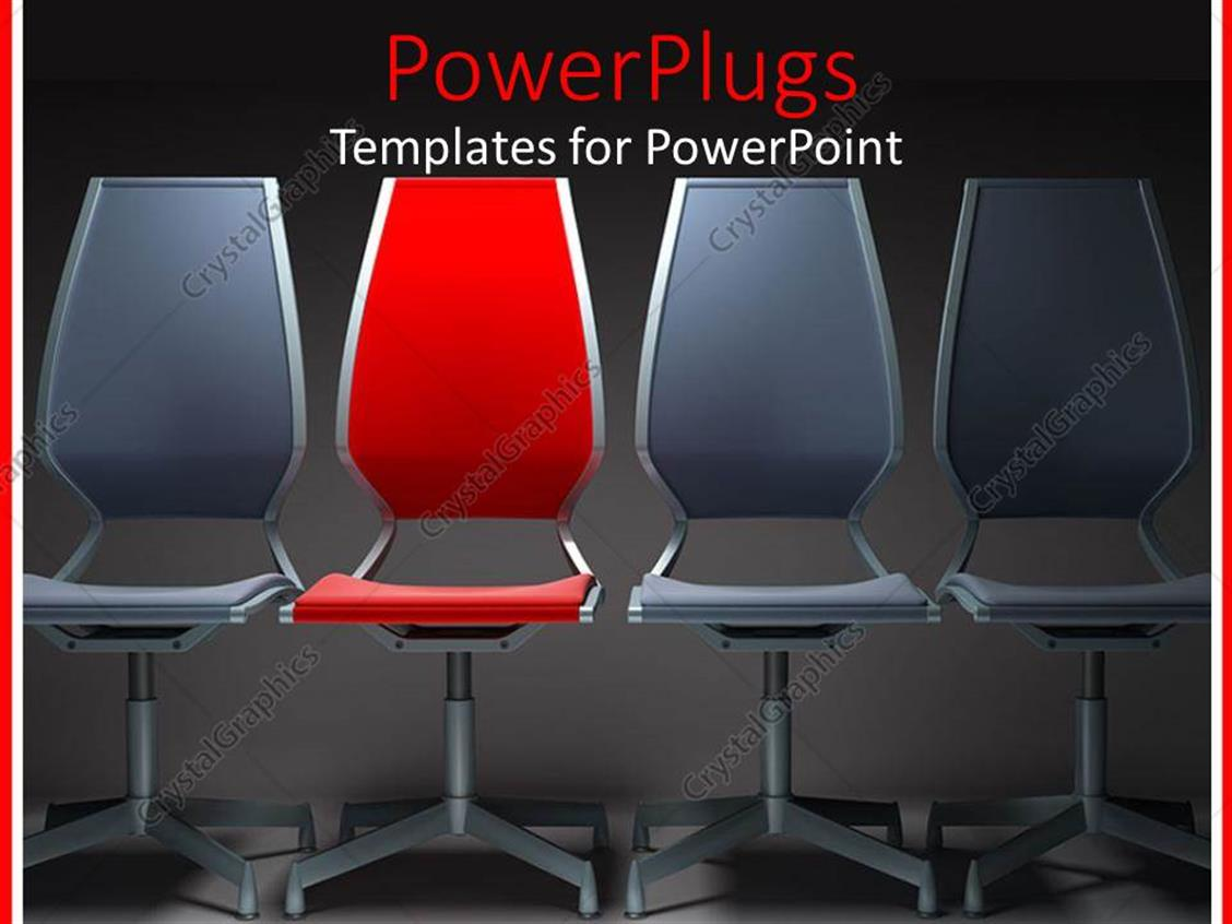 PowerPoint Template Displaying Three Gray Chairs with Red Chair in the Middle with Gray Background