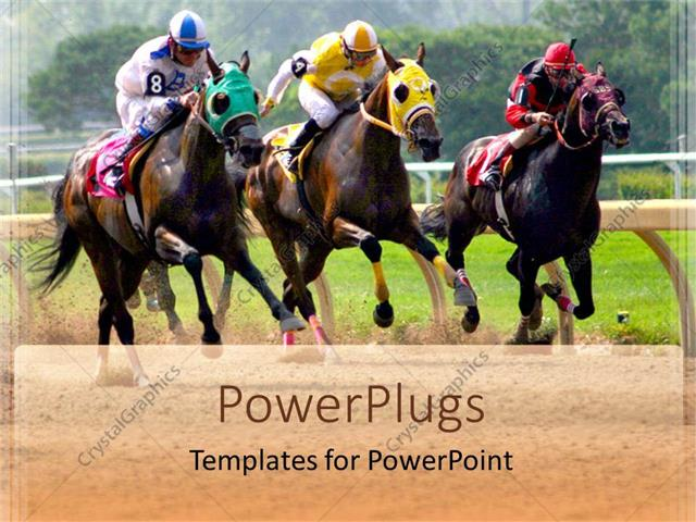 powerpoint template  three horses racing in competition in