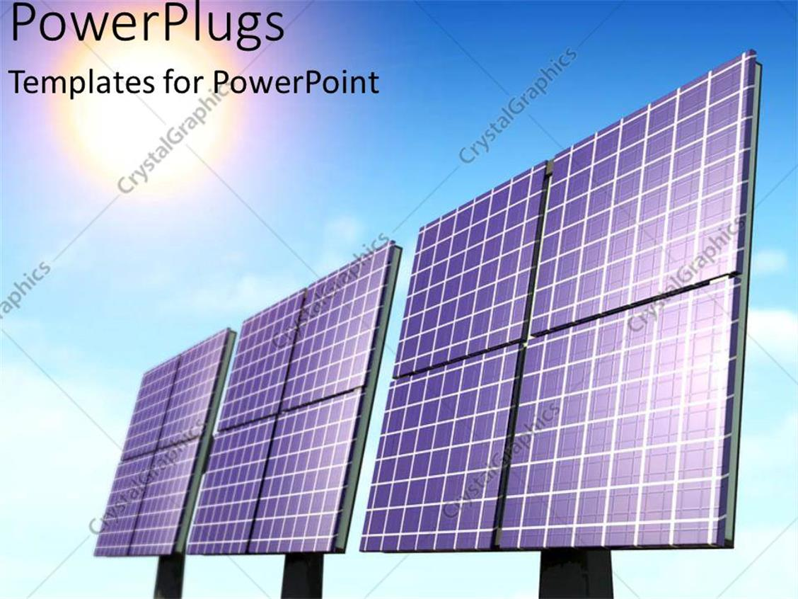 powerpoint template three large black solar panels on a clear blue sky 26762. Black Bedroom Furniture Sets. Home Design Ideas