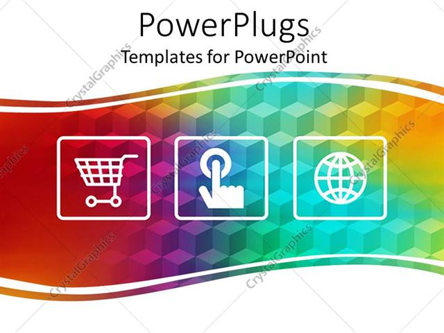 Powerpoint Template Three Online Shopping Depictions Depicting